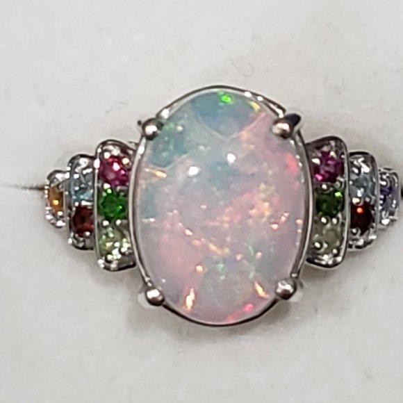 Ethiopian Welo Opal & multigem ring in Plat/925 SS